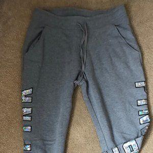 Pink Victoria's Secret gray sequined sweatpants M